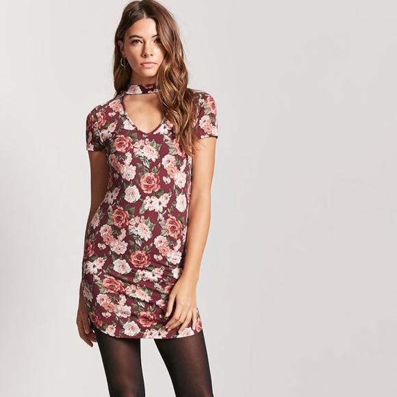 1c7fd00f72db Burgundy FLORAL V-Cutout T-Shirt Dress   NWT